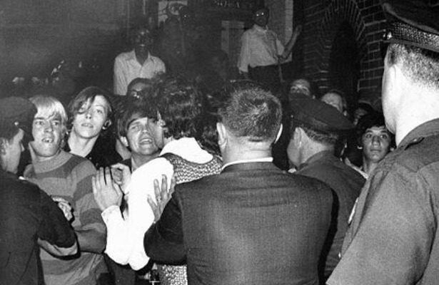 "An Amazing 1969 Account of the Stonewall Uprising  The conflict over the next six days played out as a very gay variant of a classic New York street rebellion. It would see: fire hoses turned on people in the street, thrown barricades, gay cheerleaders chanting bawdy variants of New York City schoolgirl songs, Rockette-style kick lines in front of the police, the throwing of a firebomb into the bar, a police officer throwing his gun at the mob, cries of ""occupy — take over, take over,"" ""Fag power,"" ""Liberate the bar!"", and ""We're the pink panthers!"", smashed windows, uprooted parking meters, thrown pennies, frightened policemen, angry policemen, arrested mafiosi, thrown cobblestones, thrown bottles, the singing of ""We Shall Overcome"" in high camp fashion, and a drag queen hitting a police officer on the head with her purse. Read more. [Image: Joseph Ambrosini/The New York Daily News]"