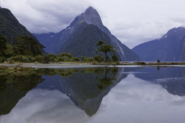 Mitre Peak Reflection at Milford Sound NZ by martindavies63 on Flickr.