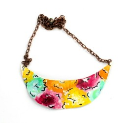 Available now! Http://shopbeatniq.com #floral #flowers #trend #beatniq #leather #etsy #crescent #jewelry #necklace #handmade #trendy #spring #colorful #nashville