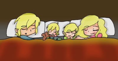 Zelink - Sleeping as a Family by ~iZelda27