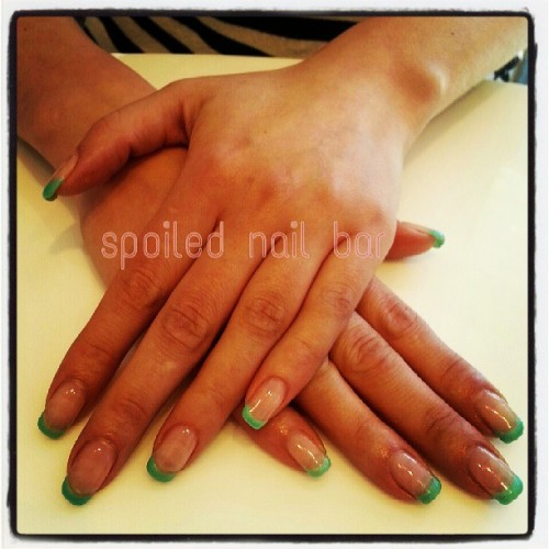 #green color #french tips #gel #nails #spoilednailbar #funky #cool