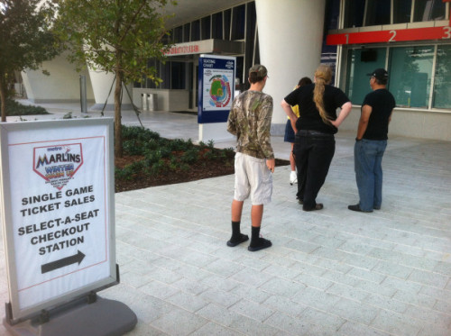 @joecapMARLINS: The line for single-game tickets outside Marlins Park, less than 30 min before they go on sale. Get 'em while they're hot! … or not.