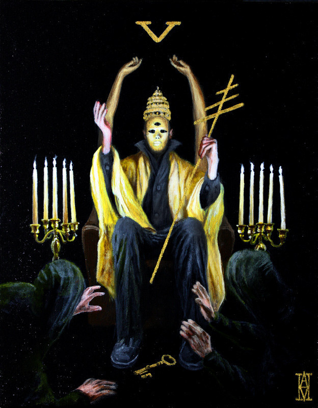"""The Hierophant"" by artist Alec Huxley.  11""x14"" oil on canvas.   $490 and available for purchase here: http://www.moderneden.com/collections/tarot/products/the-hierophant Part of the Tarot: Art of Fortune exhibition at Modern Eden Gallery in San Francisco, curated by Warholian's own Michael Cuffe. For more on Alec, visit his official site here:  http://www.alechuxley.com"
