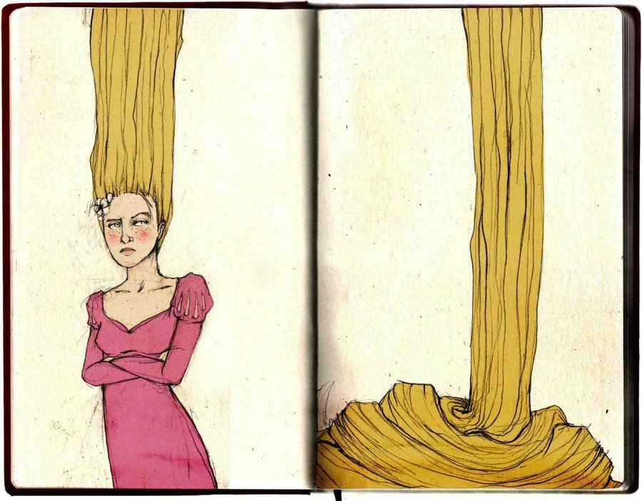 Elia-illustration aka Elia Fernández (Netherlands) - Rapunzel, 2011 Traditional Arts: Drawings http://elia-illustration.deviantart.com/gallery/33534705#/art/Rapunzel-263354635?_sid=25a0e98b