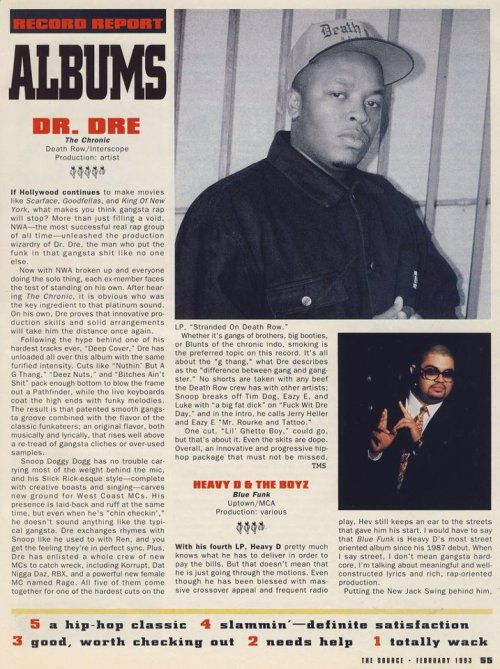 flydef:  Review of 'The Chronic' in the February 1993 issue of the Source.