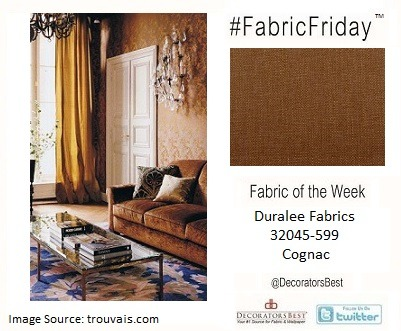 Happy #FabricFriday! Cover a sofa in a deep bronze fabric with a bit of sheen to it for a modern take on the brass trend.  Duralee Fabrics – 32045-599 – Cognac – Price per yard $43.25