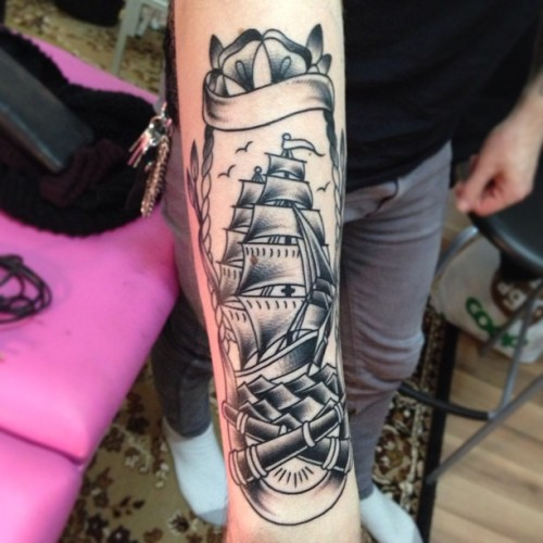 Started on this today. Color next time. #sailor #ship #shiptattoo #tattoo #sweden