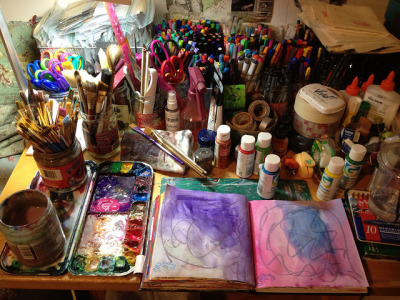 journalyourheart:  art journaling space. by shanta.devi on Flickr.