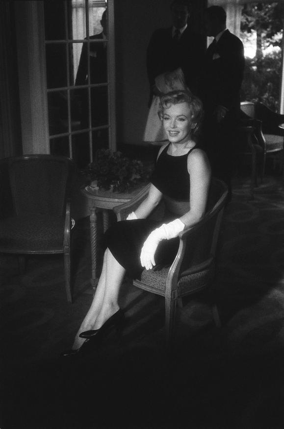 Marilyn Monroe at a press conference at the Savoy Hotel, London, 1956