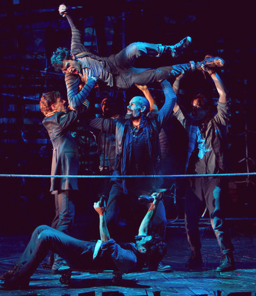 Adam Chanler-Berat and the company of Peter and the Starcatcher (2012).