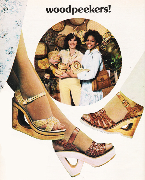 superseventies:  Bakers & Leeds 'Woodpeekers' shoe fashions, Seventeen magazine, April 1978.