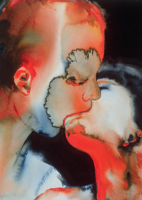 the-absolute-best-posts:  blue-voids: Graham Dean - Close-Up Kiss, watercolor on paper, 1988 This post has been featured on a 1000notes.com blog.