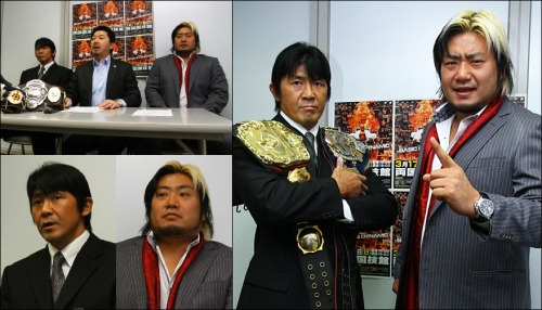 "[All Japan News] Following this last weekends big show, All Japan has officially announced four upcoming title matches. The first will take place on February 10th as the newly crowned Asia Tag Champions team of Hiroshi Yamato & Hikaru Sato, better known as ""Baka Hentai"", will be facing off against the team they beat of Minoru Tanaka & Koji Kanemoto, the Junior Stars. Baka Hentai pulled out a huge win over the champions, but it should be interesting to see if they can work together and prove they are the rightful champions.Following the main event from the show on January 26th, Masakatsu Funaki successfully defended the Triple Crown Heavyweight Championship against Akebono. It didn't take long for a new challenger to step forward in, a former Triple Crown Champion, Suwama, and the title match will be taking place on March 17th in Ryogoku. Suwama recently formed a union with Masahiro Chono, along with Joe Doering, and with that has come a new drive in Suwama to reclaim the Triple Crown. This will mark Funaki's 5th defense of the Triple Crown, and the second shot for Suwama during Funaki's current reign, with 9/23 being the date for their recent encounter.The last title match announced over the weekend is ""GET WILD"", Takao Omori and Manabu Soya, defending the World Tag Belts against the team of Jun Akiyama & Go Shiozaki on the March 17th show. Akiyama, Shiozaki, as well as the other 3 wrestlers appeared at the January 26th show to announce their intentions of competing in All Japan.The President of All Japan, Masayuki Uchida, took no time in announcing big matches to add even more hype for the guys coming in.Then lastly, Uchida announced that Shuji Kondo will be defending the World Junior belt against Yoshinobu Kanemaru on February 23rd. These two are far from strangers between one another with their last title match seeing Kondo beat Kanemaru for the GHC Junior belt on September 29th. Kanemaru debuted in All Japan back on July of 1996 and will be looking to claim the belt that eluded him during the early years of his career.Below are the upcoming title matches that are scheduled at this time.———————————————————————All Japan Pro-Wrestling ""2013 Excite Series"", 2/10/2013 [Sun] 18:00 @ Hakata Starlanes in Fukuoka(-) Asia Tag Championship Match: [90th Champions] ""Baka Hentai"" Hiroshi Yamato & Hikaru Sato vs. [Challengers] ""Junior Stars"" Minoru Tanaka & Koji Kanemoto~ 1st Defense.———————————————————————All Japan Pro-Wrestling ""2013 Excite Series"", 2/23/2013 [Sat] 18:00 @ Korakuen Hall in Tokyo(-) All Japan Pro-Wrestling vs Burning 5 Big Singles Match Series ~ World Junior Heavy Championship Match: [34th Champion] Shuji Kondo vs. [Challenger] Yoshinobu Kanemaru~ 1st Defense.———————————————————————All Japan Pro-Wrestling ""2013 Pro Wrestling LOVE in Ryogoku ~BASIC & DYNAMIC~"", 3/17/2013 [Sun] 17:00 @ Ryogoku Kokugikan in Tokyo(-) World Tag Championship Match: [64th Champions] ""GET WILD"" Takao Omori & Manabu Soya vs. [Challengers] ""BURNING"" Jun Akiyama & Go Shiozaki~ 3rd Defense. (-) Triple Crown Heavyweight Championship Match: [45th Champion] Masakatsu Funaki vs. [Challenger] Suwama~ 5th Defense.www.puroresuspirit.com/2012/12/24/all-japan-event-cards-for-january-february-2013/"