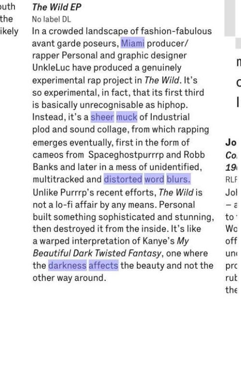 make sure to cop the january issue of The Wire, The WIld EP gets a review on Page 80! COP THAT!