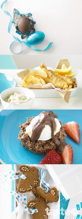 An easy family Easter menu plan, featuring fish & chips and chocolate coconut nests. (Recipe by Michelle Noerianto; Photography by Steve Brown)