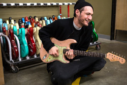 redhotchilipeppersfansite:  Josh Klinghoffer recently stopped by the Fender Custom Shop in California to pick up five of his guitars which Fender Master Builder Jason Smith was working on for him.  Read more…
