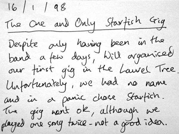 Coldplay - Here's a note Jonny wrote a while back about Coldplay's first ever show (as Starfish), wh