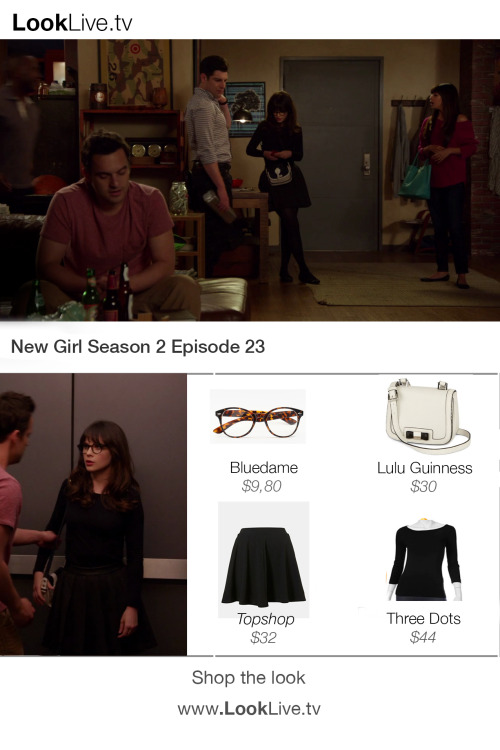 looklive:  Check out New Girl Jess in Season 2 episode 23 and shop her look for about $100. Glasses from Bluedame http://goo.gl/1szD6, Lulu by Lulu Guinness bag http://goo.gl/UKYf2, Top by Three Dots http://goo.gl/FlHme and a Topshop Skater Skirt http://goo.gl/orZAN