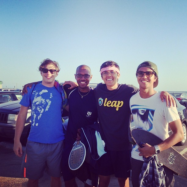 Playing tennis on Venice Beach with @c0ndizzle, @rtfinkler, and young Keith Stanford.