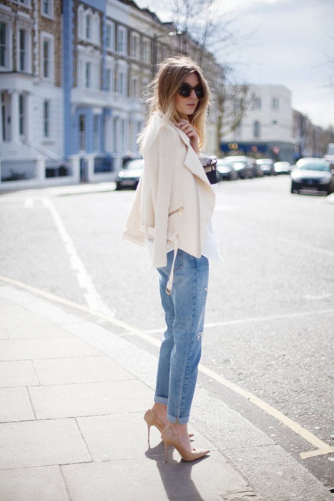 what-do-i-wear:  Charlie May biker jacket and shirt - Sandro boyfriend jeans - Jimmy Choo pumps (similar here) - Mangoclutch - Karen Walker sunnies (image: camilleovertherainbow)