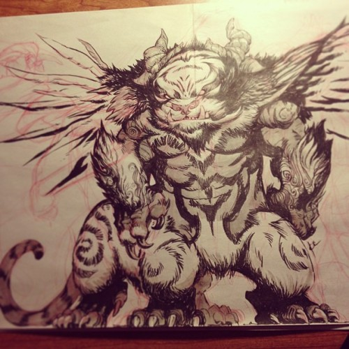 BBBB 555 Guardian of the 5th Seal #fantasy #battleberzerkerbalto #art #pentelpocketbrush #colerase #creature #monster #kitten #bird