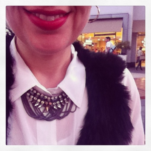 Today's #ootd {#JCrew shirt + @bloomingdales fur vest + @chloeandisabel Drama Nacklace} #workattire #officestyle #candistyle #whatimwearing #wiwt #fashion #outfit #outfitpost #lookoftheday #officechic #chloeandisabel #chloeandisabelbyliz #jcrewaddict  (at Chloe + Isabel by Liz eBoutique)