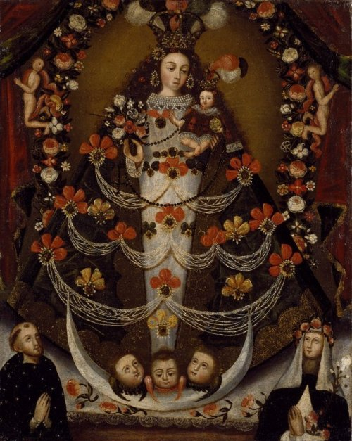 centuriespast:  Virgin of Pomata with St. Nicholas Tolentino and St. Rose of Lima Medium: Oil on canvas Place Made: Cuzco, Peru Dates: 1700-1750 Brooklyn Museum
