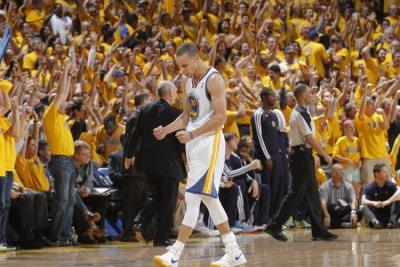 Curry in Game 6 after dropping off dime to Bogut. (Rocky Widner/NBAE/Getty)