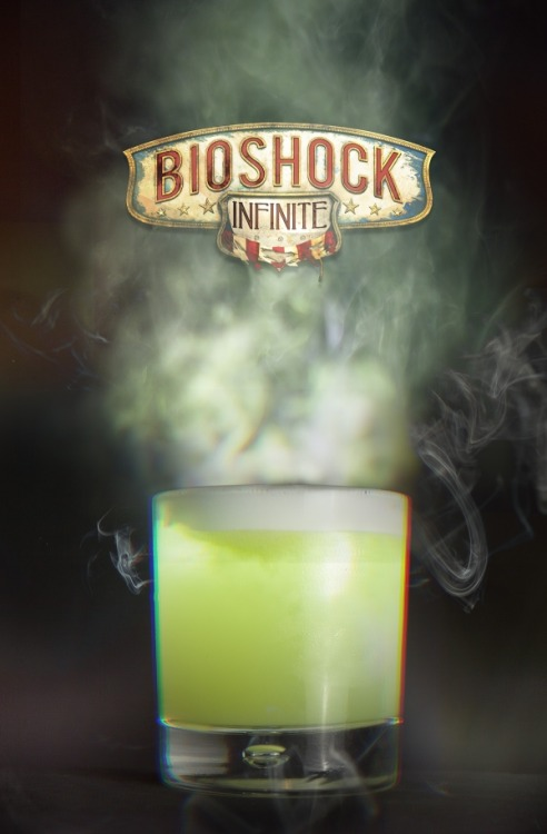 "thedrunkenmoogle:  Possession (Bioshock Infinite cocktail) Ingredients:1 bunch of Basil1/2 Lemon1/2 Lime25 ml Sugar Syrup50 ml Tanqueray Gin Abisnthe Froth recipe (Serves 4):1 Egg White25 ml Sugar Syrup25 ml Water25 ml Absinthe Directions: Add Basil and Lemon half into a cocktail shaker and muddle the two heavily. Next add a shot of sugar syrup to the mix, add in the Tanqueray gin double measure, fill to the top with Ice and shake vigorously. Finally strain through a strainer forcing any remaining liquid out of the ingredients. Serve in a rocks glass with fresh ice. Add some Absinthe froth to the top of the drink. To make the froth, combine the ingredients in blender and whisk until foam forms, skim some off and add to the top of the drink. ""With POSSESSION, the free will of your enemies matters no more. Make your foes blindly fight and die for you."" -Fink Manufacturing advertisement Drink created by James Dance of Loading as part of an official Bioshock Infinite series of drinks. The drinks will be be served at Loading's Bioshock Infinite event in Soho on March 29th. Photography by Will Edgecombe."