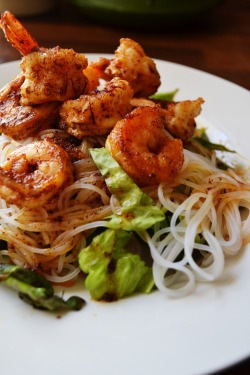 Spain meets southeast Asia. Saffron infused shrimps with rice vermicelli salad.