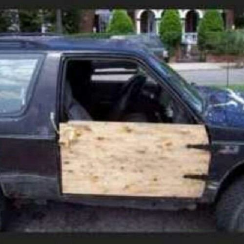 Wooden car door…. #isitratchet ?