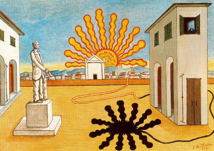 nickkahler:  Giorgio de Chirico, Rising Sun on the Piazza, 1976