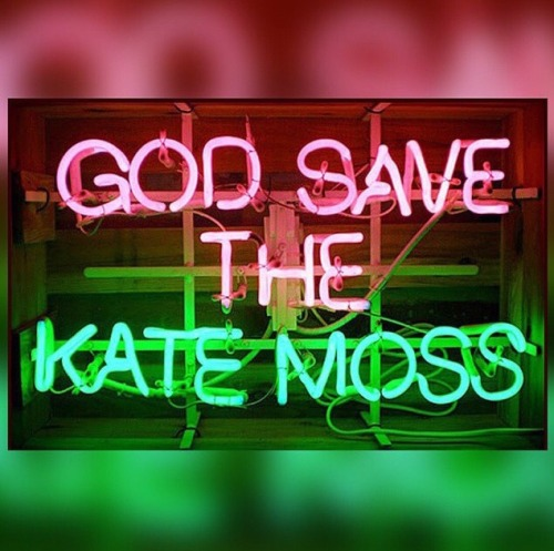 Kate moss God save neon lights green pink glowing theculturestop the culture stop model icon