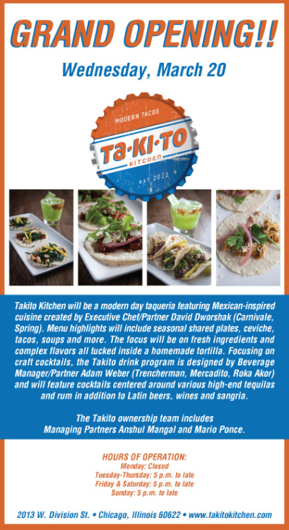 Wednesday evening, 826CHI staff is heading to Takito Kitchen's grand opening for delicious food and ALL THE DRINKS. Come with us! A portion of their sales benefit 826. No such thing as too many tacos.