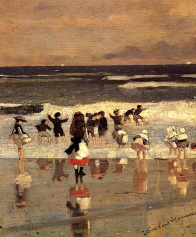 artemisdreaming:  Beach Scene - aka Children in the Surf, 1869,   Thyssen-Bornemisza Museum Winslow Homer Detail