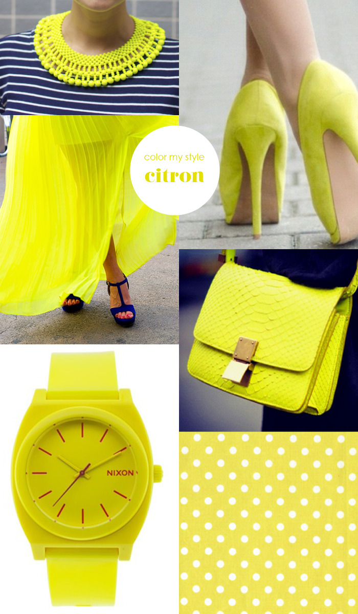 Color my style: Citron Spring is nearly there so it's time for some fresh yellow in your closet! Images: Scissors and thread | Pumps | Neon dress | Snake bag | Nixon | Dots by Tonic Living more Color my style here