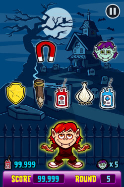 Vampire Feast iPhone Game/App Cartoon Art Screenshot - Gameplay on Flickr.I created the illustration & design for this vampire-themed app/game, Vampire Feast.