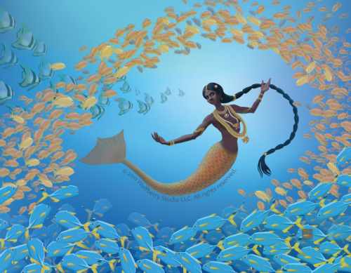 """ Kadal Kanni ""  …  South Asian Mermaid by Wolfberry Studio (Copyright 2011) See more of this Artist's work here:  http://wolfberrystudio.blogspot.com/"