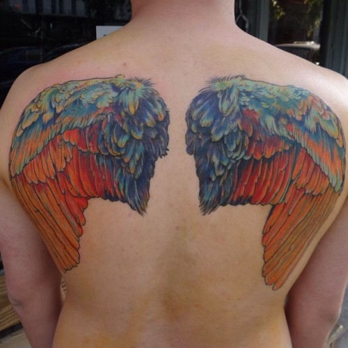 #tattoo #instagood #wings #art #color #fusionink #coverup #backtats #guyswithtattoos #equality #splashdown #bishoprotary #tatsoul #pride @thebutchertattoo #ink #inkedguys #savannah #downtown #bayst #historicga #asiantattoos #allgoldeverthing #wordtodamutha #oopsallberries #lerve #snakedogpuddingpop #theleggedcowtipper (at The Butcher Tattoo)