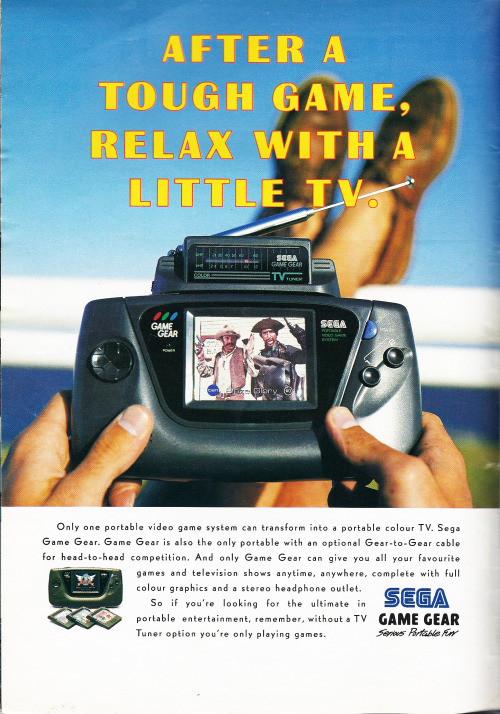 oldgamemags:  An advert for the Sega TV Tuner on the Game Gear! This was a pretty awesome piece of kit, making the Game Gear into a Colour Television!