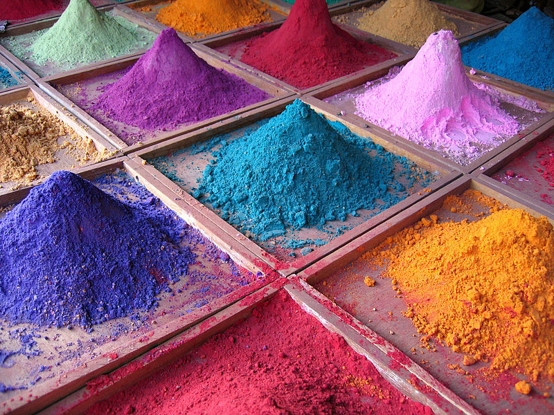 Paint pigments for sale in a market stall, Goa, India.