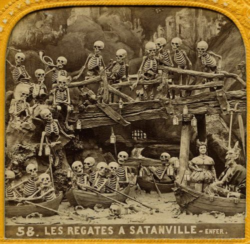 "xmorbidcuriosityx:   #58 of 72 hellish little 3D cards from the 18th century Les Diableries presentation; this one is captioned ""Les Régates à Satanville"".  Via Skeletons in the Closet"