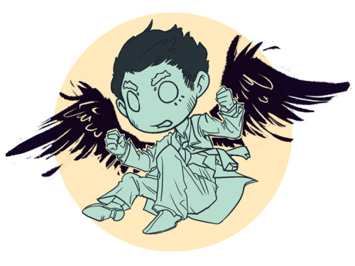 mystradedoodles:  Castiel baby! Kicking ass now and getting into moral quandaries about it later.