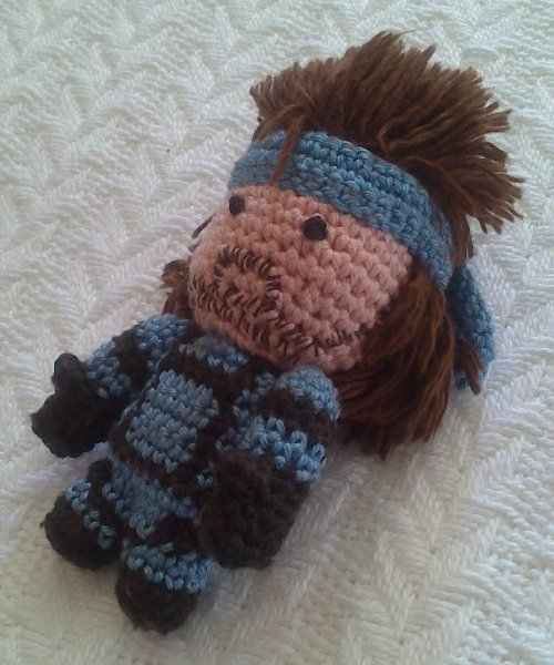 "it8bit:  Handmade ""Solid Snake"" Crochet Doll Available for $30(USD) @Etsy Created & submitted by PixelBlock"