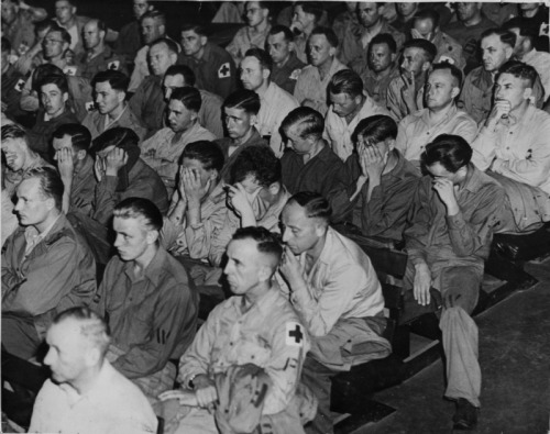 The immediate reaction of German POWs upon watching uncensored footage of the concentration camps shot by the US Signal Corps.People often forget that most of the German troops had no idea about what was going on, they weren't all fanatic Nazis bent on genocide, they were just regular soldiers who answered the call when their country went to war.