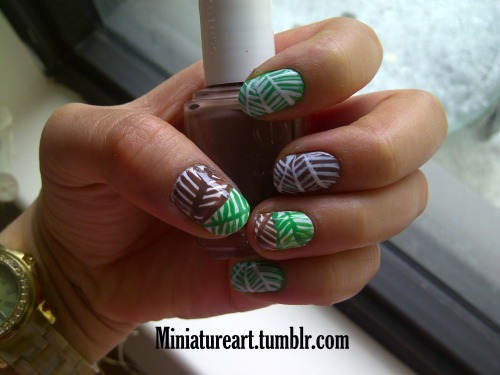 Spring Pattern nails! I love these!! I used: Mojito Madness, and Mink Muff all by Essie