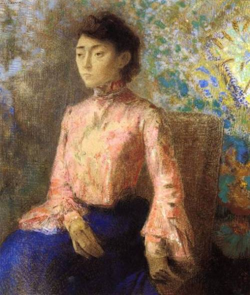 "windypoplarsroom:  Odilon Redon ""Portrait of Jeanne Chaine"""
