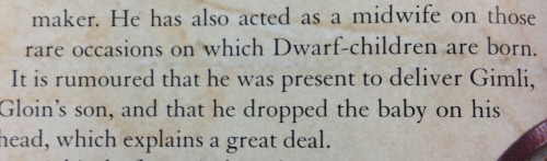 angiethehistorygal:  So reading the description of Oin in the Hobbit Visual Companion and found this gem.