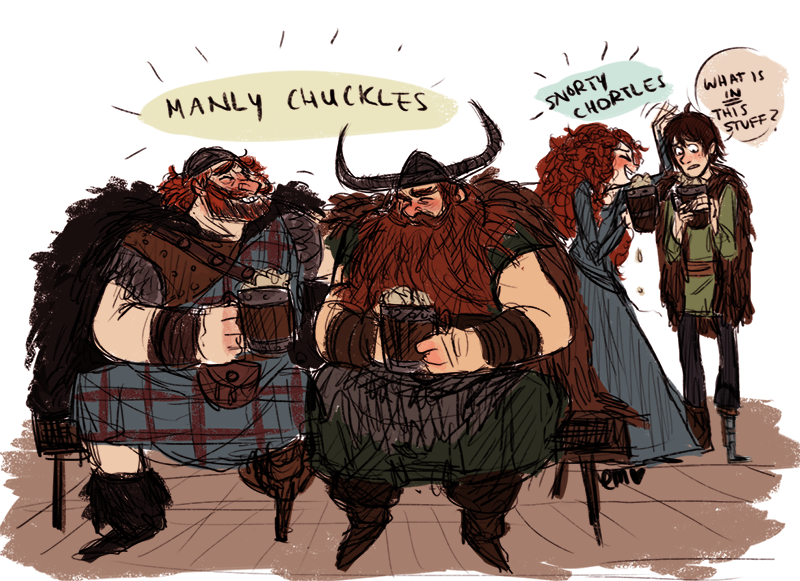 papinsu:  big burly ginger dads getting all drunk together. and merida too because she's a burly ginger too. hiccup's just confused.