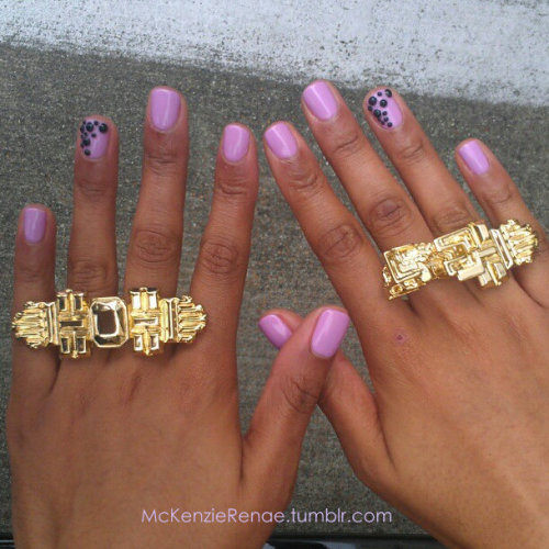 Dope nails of the day ;) These are actually my nails that I got done for my birthday this weekend. It's a pretty gel polish (I believe an OPI color) with black crystals on my ring finger placed in a fun semi circle design :)